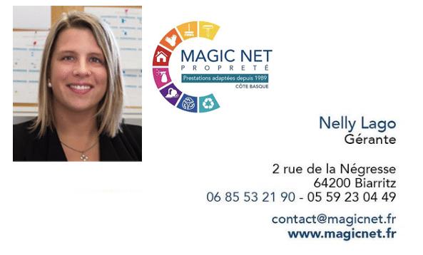 carte de visite de Nelly lago gérante de l'entreprise Magic net nettoyage à biarritz