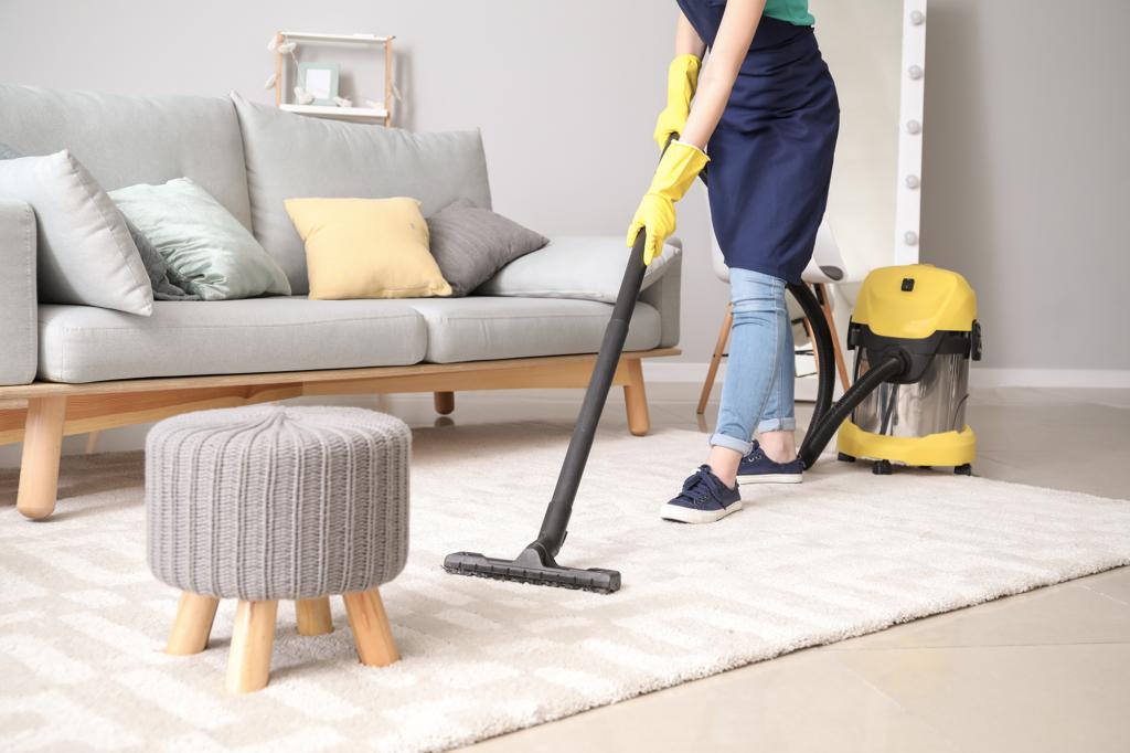 photo d'une personne qui fait le ménage chez un particulier en passant l'aspirateur sur un tapis dans le salon
