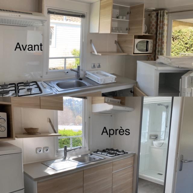 Photo d'un mobil home avant et après son nettoyage à biarritz au pays basque