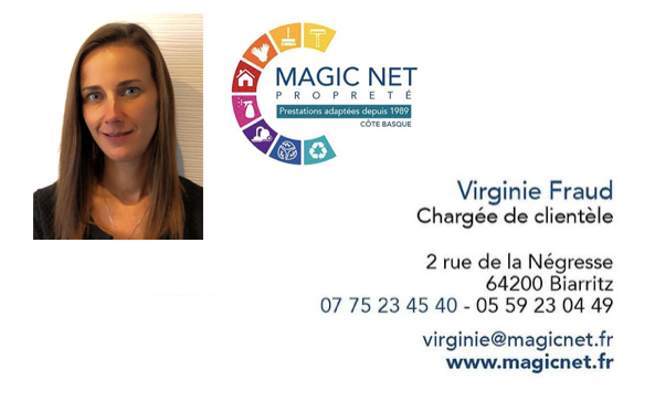 Carte de visite de virginie Magic net entreprise de nettoyage à biarritz